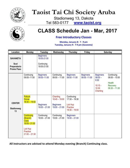 CALENDAR Jan-Mar 2018